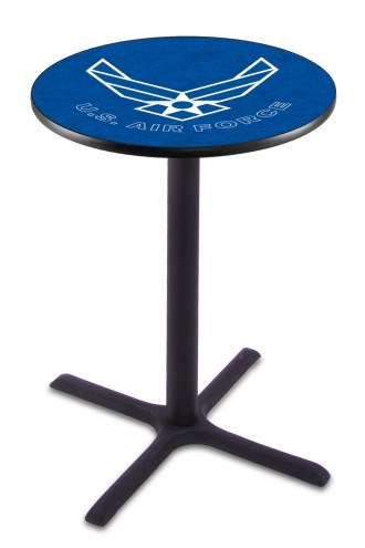 Air Force Falcons Black Wrinkle Bar Table with Cross Base