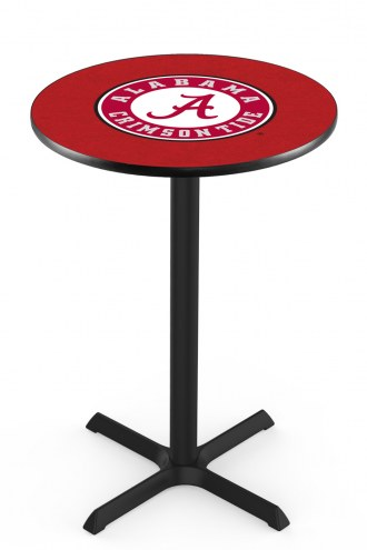 Alabama Crimson Tide Script A Black Bar Table with Cross Base