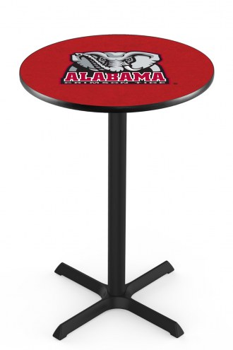 Alabama Crimson Tide Black Wrinkle Bar Table with Cross Base