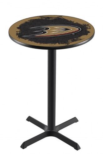 Anaheim Ducks Black Wrinkle Bar Table with Cross Base