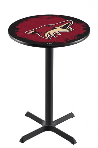 Arizona Coyotes Black Wrinkle Bar Table with Cross Base