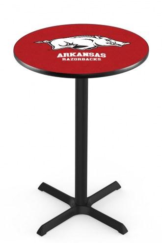 Arkansas Razorbacks Black Wrinkle Bar Table with Cross Base