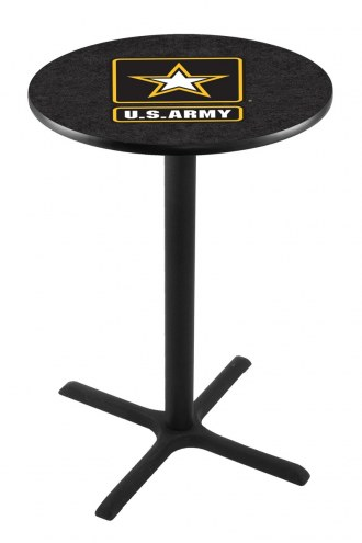 U.S. Army Black Knights Black Wrinkle Bar Table with Cross Base
