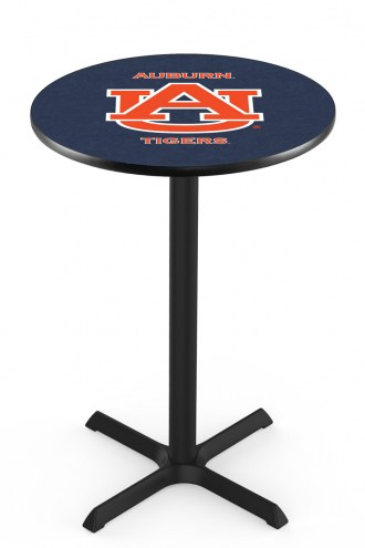 Auburn Tigers Black Wrinkle Bar Table with Cross Base