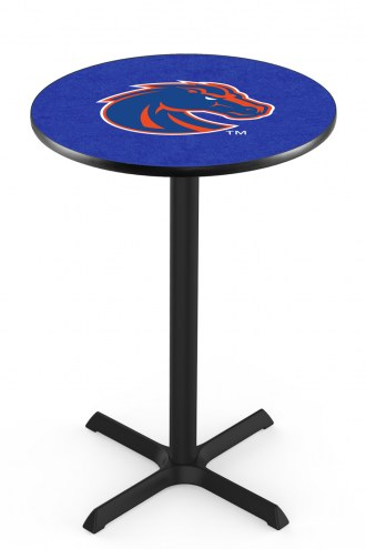 Boise State Broncos Black Wrinkle Bar Table with Cross Base