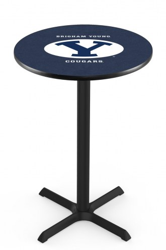 BYU Cougars Black Wrinkle Bar Table with Cross Base