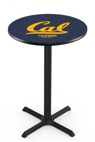 California Golden Bears Black Wrinkle Bar Table with Cross Base
