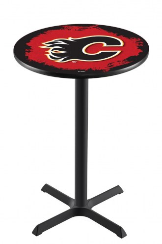 Calgary Flames Black Wrinkle Bar Table with Cross Base