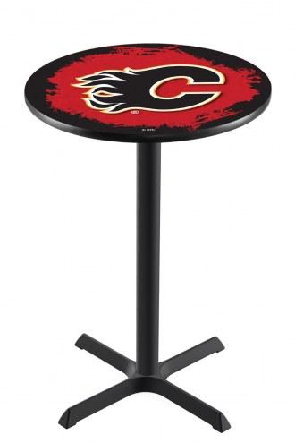Calgary Flames Black Wrinkle Bar Table with Cross Base