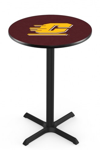 Central Michigan Chippewas Black Wrinkle Bar Table with Cross Base