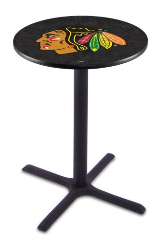 Chicago Blackhawks Black Wrinkle Bar Table with Cross Base