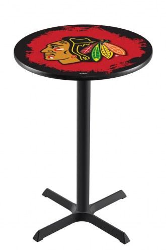 Chicago Blackhawks NHL Black Wrinkle Bar Table with Cross Base