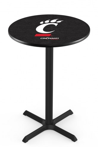 Cincinnati Bearcats Black Wrinkle Bar Table with Cross Base