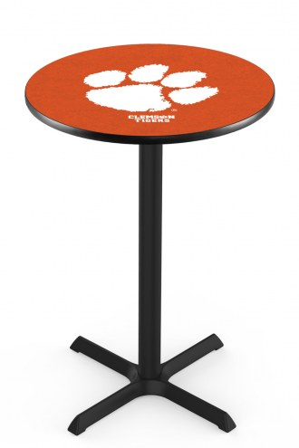 Clemson Tigers Black Wrinkle Bar Table with Cross Base