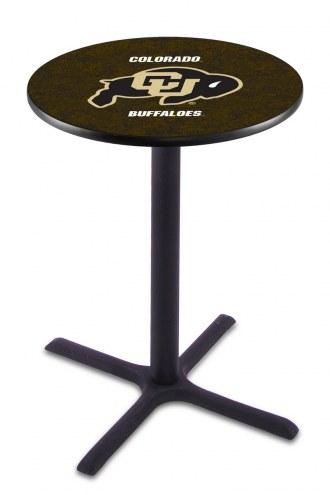 Colorado Buffaloes Black Wrinkle Bar Table with Cross Base