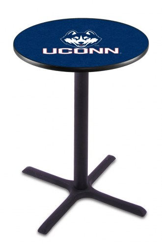 Connecticut Huskies Black Wrinkle Bar Table with Cross Base
