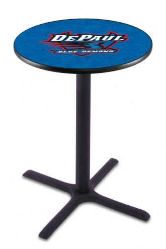 DePaul Blue Demons Black Wrinkle Bar Table with Cross Base