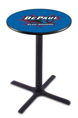 DePaul Blue Demons Black Wrinkle Bar Table with Cross Base