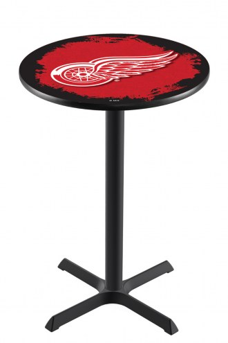 Detroit Red Wings Black Wrinkle Bar Table with Cross Base