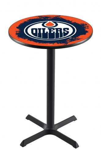 Edmonton Oilers Black Wrinkle Bar Table with Cross Base