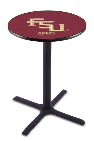 Florida State Seminoles Script Black Bar Table with Cross Base