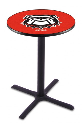 Georgia Bulldogs Black Wrinkle Bar Table with Cross Base