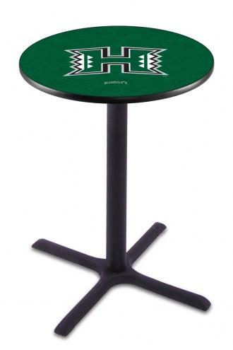 Hawaii Warriors Black Wrinkle Bar Table with Cross Base