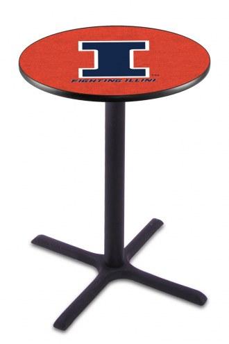 Illinois Fighting Illini Black Wrinkle Bar Table with Cross Base