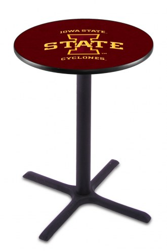 Iowa State Cyclones Black Wrinkle Bar Table with Cross Base