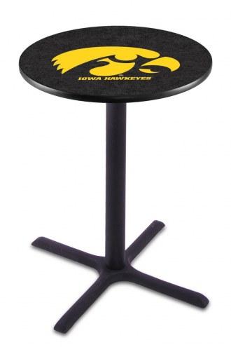 Iowa Hawkeyes Black Wrinkle Bar Table with Cross Base