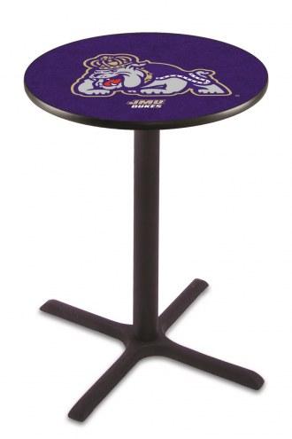 James Madison Dukes Black Wrinkle Bar Table with Cross Base