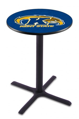 Kent State Golden Flashes Black Wrinkle Bar Table with Cross Base