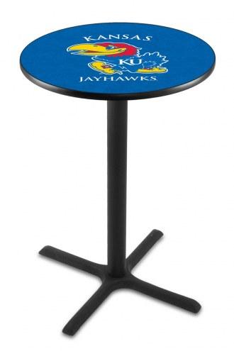 Kansas Jayhawks Black Wrinkle Bar Table with Cross Base