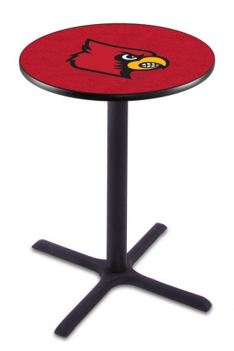 Louisville Cardinals Black Wrinkle Bar Table with Cross Base