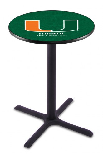 Miami Hurricanes Black Wrinkle Bar Table with Cross Base