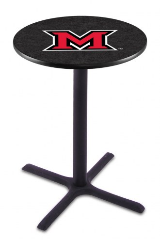 Miami of Ohio RedHawks Black Wrinkle Bar Table with Cross Base