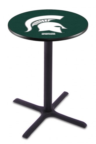 Michigan State Spartans Black Wrinkle Bar Table with Cross Base