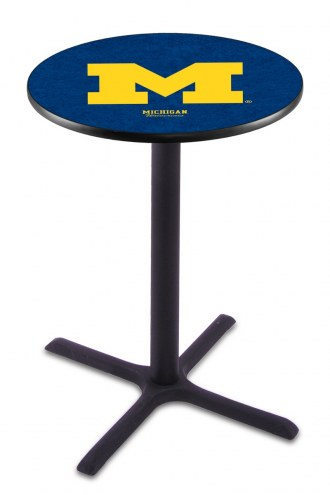 Michigan Wolverines Black Wrinkle Bar Table with Cross Base