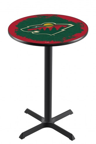 Minnesota Wild Black Wrinkle Bar Table with Cross Base
