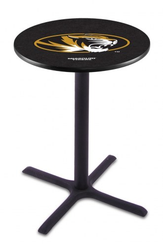 Missouri Tigers Black Wrinkle Bar Table with Cross Base