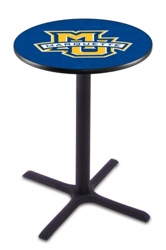 Marquette Golden Eagles Black Wrinkle Bar Table with Cross Base