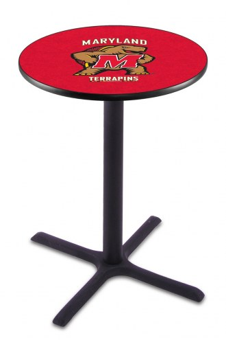 Maryland Terrapins Black Wrinkle Bar Table with Cross Base