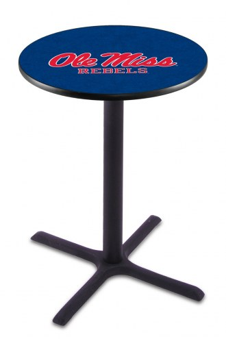 Mississippi Rebels Black Wrinkle Bar Table with Cross Base
