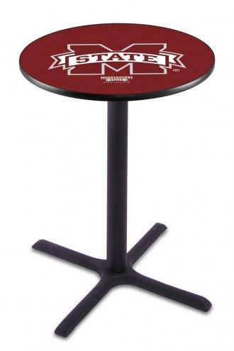 Mississippi State Bulldogs Black Wrinkle Bar Table with Cross Base