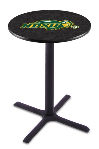 North Dakota State Bison NCAA Black Wrinkle Bar Table with Cross Base