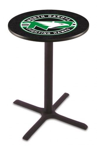 University of North Dakota Black Wrinkle Bar Table with Cross Base