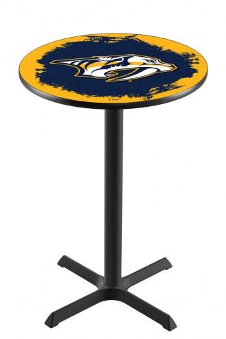 Nashville Predators Black Wrinkle Bar Table with Cross Base