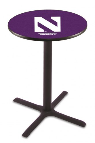 Northwestern Wildcats Black Wrinkle Bar Table with Cross Base