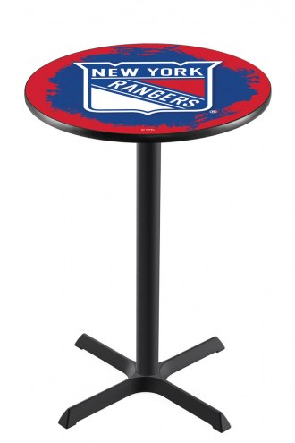 New York Rangers Black Wrinkle Bar Table with Cross Base