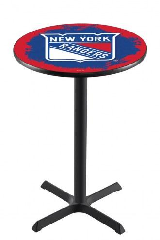 New York Rangers Black Wrinkle Bar Table with Cross Base